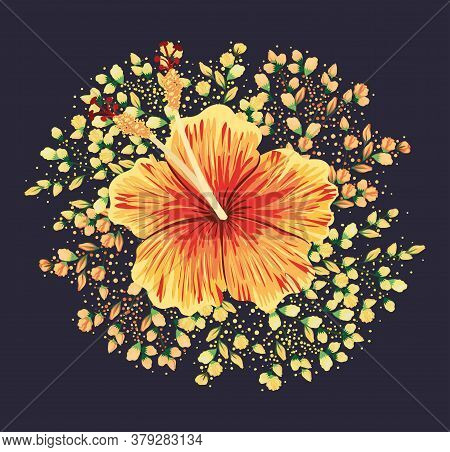 Yellow And Red Hawaiian Flower Painting Design, Natural Floral Nature Plant Ornament Garden Decorati
