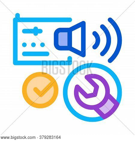 Fixed Radio Sound Icon Vector. Fixed Radio Sound Sign. Color Symbol Illustration