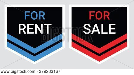 Set Of Symbols Rent Or Sale Home, House By Owner, For Sale And For Rent Property Real Estate Signs.