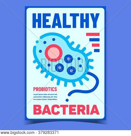 Healthy Bacteria Creative Advertise Banner Vector. Bacteria Probiotics Promotional Poster. Biochemis