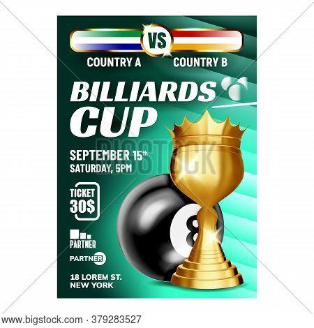 Billiard Pyramid Champion Cup Flyer Banner Vector. Billiard Sphere Ball And Golden Mug For Player Sh