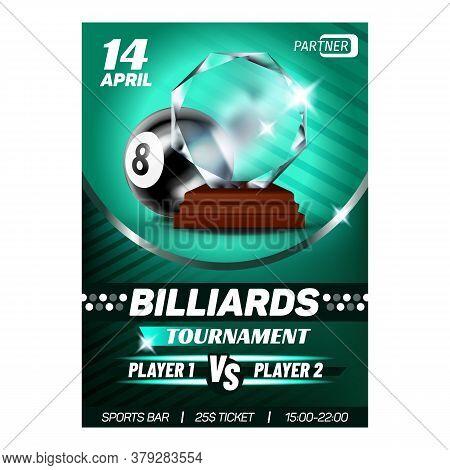 Billiard Snooker Sport Winner Reward Poster Vector. Billiard Ball And Award For Club Win Player High