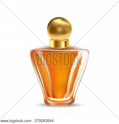 Fragrance Glass Bottle For Aromatic Liquid Vector. Stylish Decorative Blank Bottle Sprayer With Gold