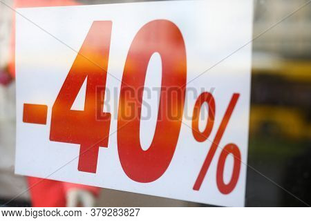 Discount Advertisement Hanging On Glass Door. Implementation Preparatory Measures For Launching Disc