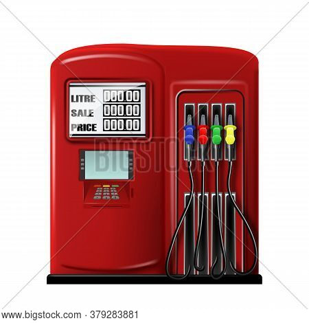 Gas Station Equipment For Refuel Automobile Vector. Fuel Auto Station Tool With Petrol Pump Filling