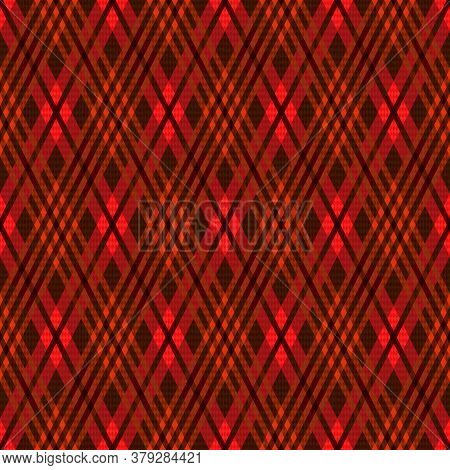 Detailed Rhomb Seamless Vector Pattern As A Tartan Plaid In Brown, Red And Khaki Hues, Texture For F