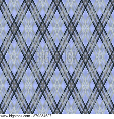 Rhombic Seamless Vector Pattern As A Tartan Plaid Mainly In Pale Violet And Grey Hues, Texture For F
