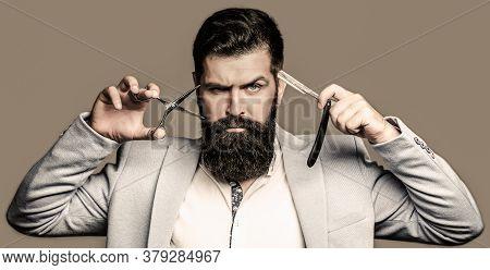 Bearded Client Visiting Barber Shop. Barber Scissors And Straight Razor, Barber Shop, Suit. Brutal G