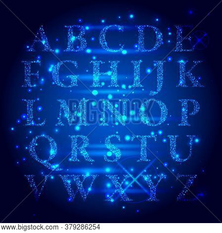 Techno Type Font Alphabet. Digital Hi-tech Style Letters, Numbers And Symbols On A Dark Background.