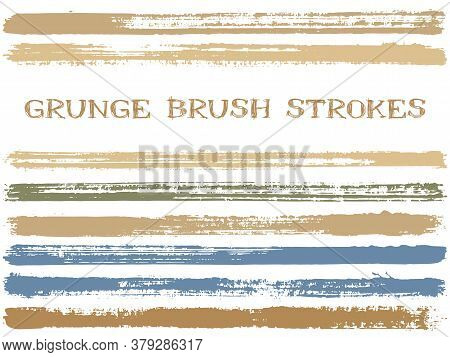 Ink Brush Strokes Isolated Design Elements. Set Of Paint Lines. Grungy Stripes, Textured Paintbrush