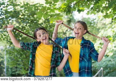 Spare Time. Girls Teenagers Spend Time Together Having Fun. Childhood Lifestyle Concept. Togethernes