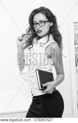 Woman Eyeglasses Attractive Secretary. Business Lady. Business Academy. Office Staff. Administrator