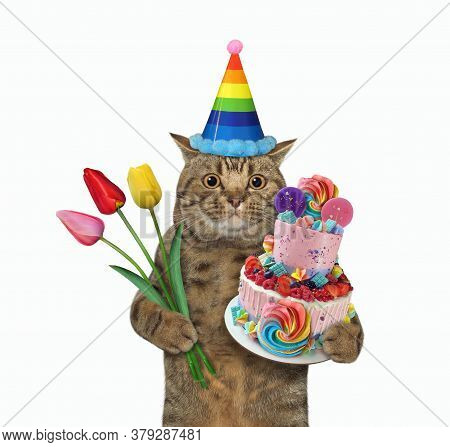 The Beige Big Eyed Cat In A Birthday Hat Is Holding A Two Tiered Cake And Flowers. White Background.