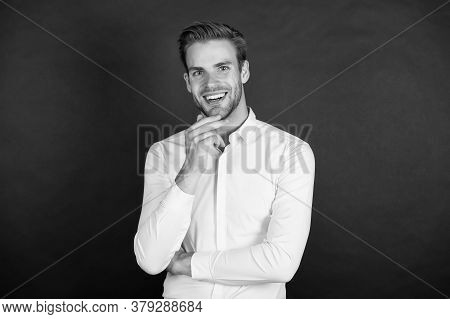 Smile That Attracts Women. Happy Guy Smile Dark Background. Smiling Man With Healthy White Smile. Te