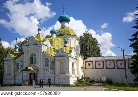 Tikhvin, Russia - July 29, 2020, The Tikhvin Monastery Of The Dormition Of The Mother Of God. Gatewa