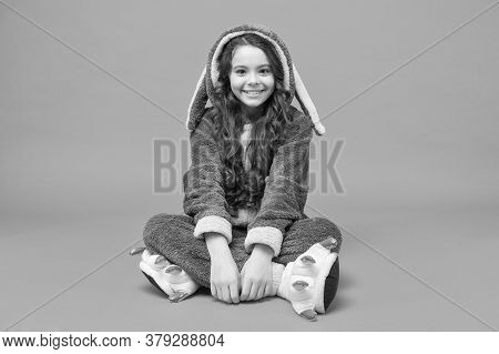 Cute Baby. Domestic Clothes. Rest And Relax. Cute Bunny Kid. Baby Animal Character. Smiling Girl In