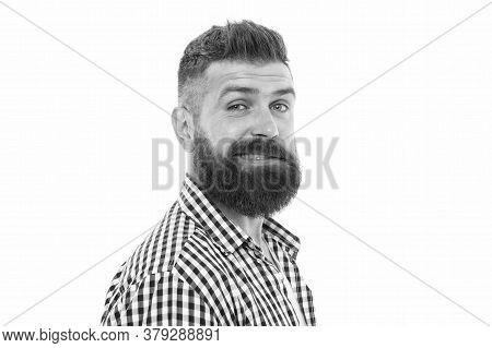 My Beard Looks Perfect. Male Beauty Portrait. Well-groomed Bearded Man. Amazed Mature Man. Male Barb