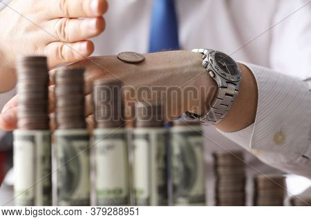 Man Put Coin On Back His Hand, Counting Money. Effective And Useful Ways To Save Money. Money Works