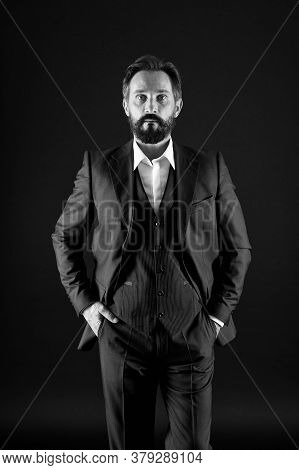 Of His League. Confident And Charismatic Ceo. Just Being Successful. Man With Beard In Formal Wear.