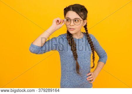 Smart Baby. Romantic Schoolgirl. Adorable School Nerd. Intellectual. Kid Girl Wear Eyeglasses. Back