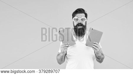 How To Make Exercise. Bright Ideas For Your Studying. Happy Man In Glasses With Notebook. Graduate F