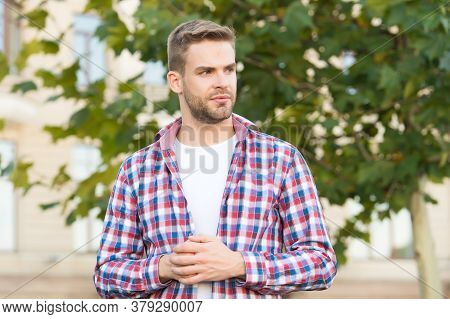 Every Man Needs Some Time For Himself. Single Man Urban Outdoors. Unshaven Man In Casual Style. Mens