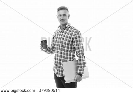 On My Way To Success. Regular Office Worker Concept. Work From Home. Handsome Man Enjoying Coffee To
