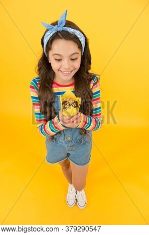 Girl Enjoy Favorite Sugary Treats, Appetite Concept.