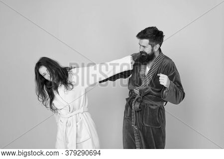 Advice Relationships Surviving Quarantine. Morning Routine. Couple Sleepy Faces Domestic Clothes. Al