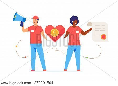 Activists Call For Help Illustration. Activist, Policy, Volunteer, Protest. Flat Illustration Icons