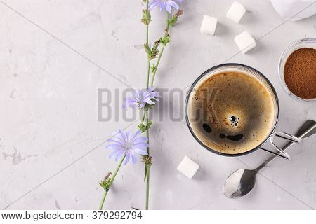 Chicory Beverage In Glass Cup, With Concentrate And Flowers On Grey Background. Healthy Herbal Bever