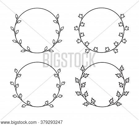 Vector Vintage Circle Wreaths In Mono Line Style. Collection Of Four Floral Frames.
