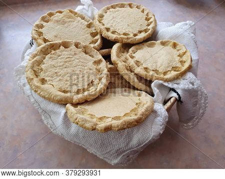 Basket With Thick Handmade Corn Tortillas For Preparing Sopes, Traditional Mexican Food