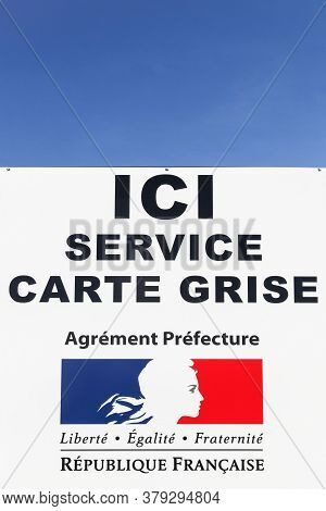 Jassans, France - March 14, 2018: Registration Car Service Sign In France