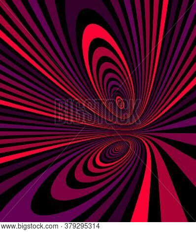 Colorful Red Abstract Vector Lines Psychedelic Optical Illusion Illustration, Surreal Op Art Linear