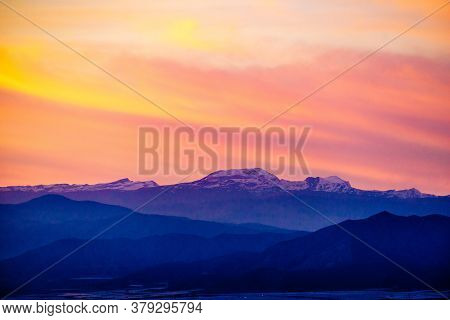Sierra Nevada Mountain Range In Spain. Nature Landscape At Evening.