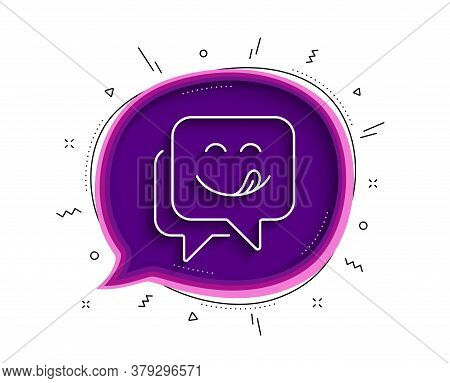 Yummy Smile Line Icon. Chat Bubble With Shadow. Emoticon With Tongue Sign. Speech Bubble Symbol. Thi