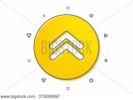 Scrolling Arrow Sign. Swipe Up Button Icon. Landing Page Scroll Symbol. Yellow Circles Pattern. Clas