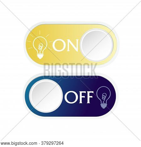 Icon On And Off, Day And Night. Toggle Button On A White Background. Flat Design Of Buttons Inside W