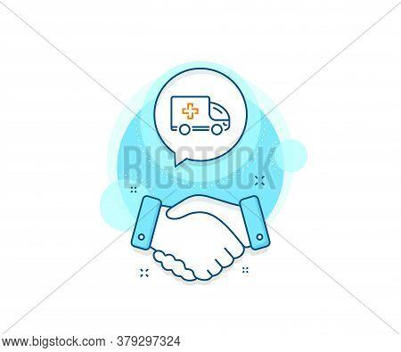 Hospital Transportation Vehicle Sign. Handshake Deal Complex Icon. Ambulance Emergency Car Line Icon