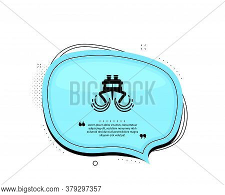 Ship In Waves Icon. Quote Speech Bubble. Watercraft Transport Sign. Shipping Symbol. Quotation Marks