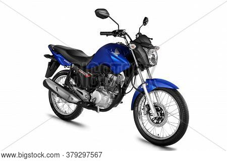 Campinas, Sao Paulo / Brazil - July 31, 2013: Motorcycle Honda Cg Fan 125 Esdi Is Seen In The City O