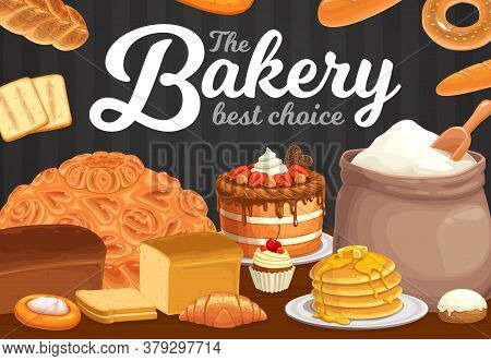 Bakery, Bread Or Pastry Desserts Cafe. Vector Sweet Baked Food Cake, Pie And Pancakes With Croissant