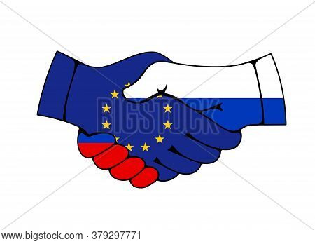 Russia And European Union Partnership Handshake, Trade And Business Deal Agreement Vector Icon. Join