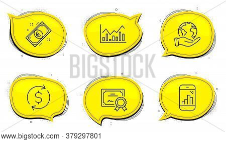 Dollar Exchange Sign. Diploma Certificate, Save Planet Chat Bubbles. Euro Money, Infochart And Graph