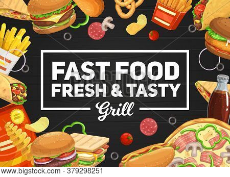 Fast Food Vector Burger And Hot Dog, Pizza And Sandwich, Soda Drinks. French Fries And Roll, Tornado