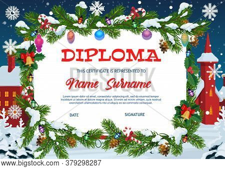Kids Diploma Education, Christmas Gift Certificate With Fir-tree Frame Decorated With Garland, Baubl