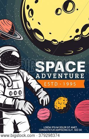 Astronaut In Outer Space. Galaxy Exploration Program Vector Banner With Cosmonaut In Spacesuit Flyin