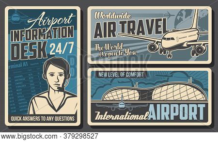 Airport Information Desk, Airplane Retro Posters. Vector Air Traffic Service Operator With Headset,
