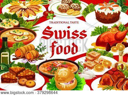 Swiss Cuisine Restaurant Food Vector Poster. Gingerbread Leckerli, Carrot Cake, Chicken In Dough Or